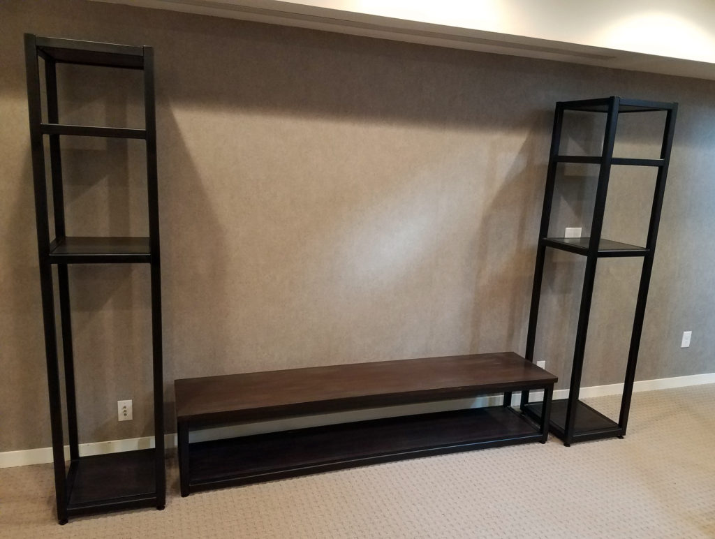 we specialize in making custom wood and steel media consoles using walnut cherry and custom stains