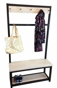 Coat rack and bench unit 2