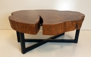 Live Edge Cookie Slab Table crack