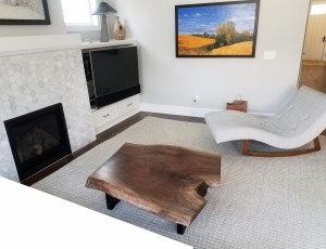 Walnut live edge coffee table in family room