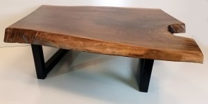 Walnut live edge coffee table side view