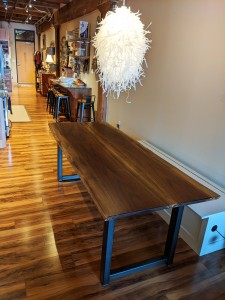 custom furniture maker near me st. paul mn live edge walnut dining table