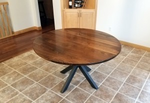 custom walnut circle dining table custom furniture minneapolis and st. paul