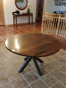 custom walnut circle dining table