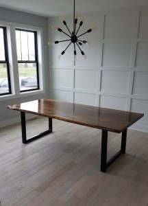 custom walnut dining table faux live edge mn
