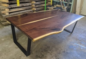 custom walnut live edge coffee table mn