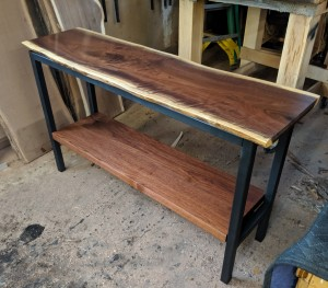 custom walnut live edge sofa table minneapolis st. paul mn 1