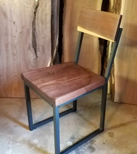 walnut and steel dining chair 1 minneapolis