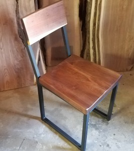 walnut and steel dining chair 2 minneapolis