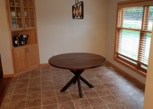 walnut circle table x base custom dining table minneapolis