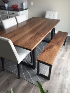walnut dining table and bench (1)