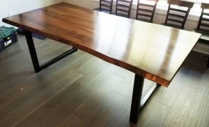 walnut faux live edge custom dining table minneapolis