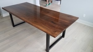walnut faux live edge dining table mn 2