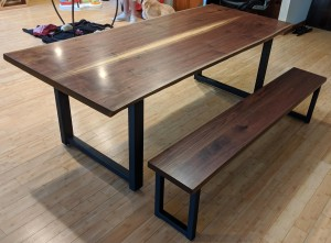 walnut live edge dining table and bench richfield mn
