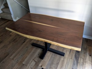 walnut live edge pedestal kitchen table minneapolis mn